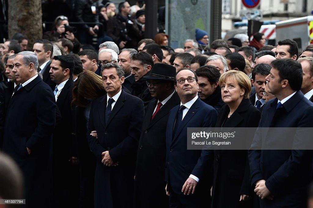 Benyamin Netanyaou Nicolas Sarkozy Ibrahim Boubakar Keita Francois Hollande Angela Merkel and Matteo Renzi walk during a mass unity rally following...
