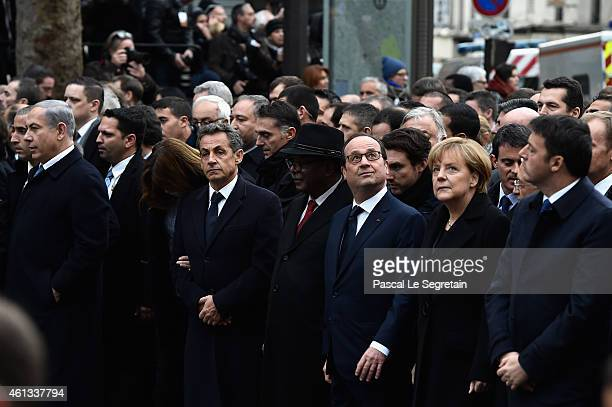 Benyamin Netanyaou Nicolas Sarkozy Ibrahim Boubakar Keita Francois Hollande Angela Merkel and Matteo Renzi walk during a mass unity rally following...