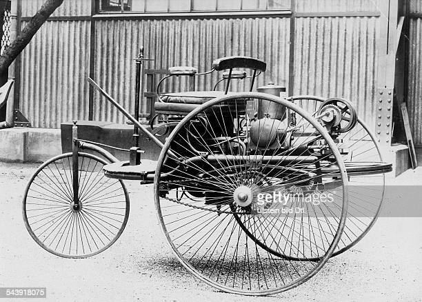 Benz Patent Motorwagen 1885 The first petrolcar a threewheels vehicle with combustion motor and electric detonator Photographer 1900Vintage property...