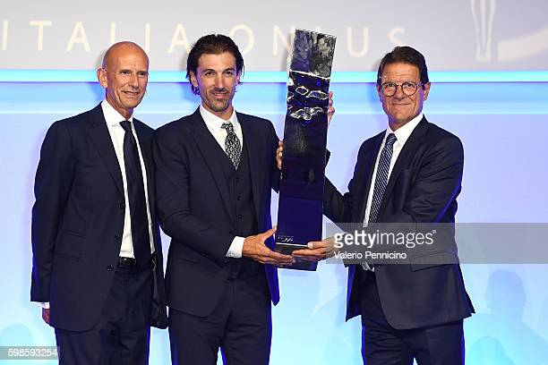 Beppe Ambrosini Fabian Cancellara and Fabio Capello attend the Laureus F1 Charity Night at the MercedesBenz Spa on September 1 2016 in Milan Italy