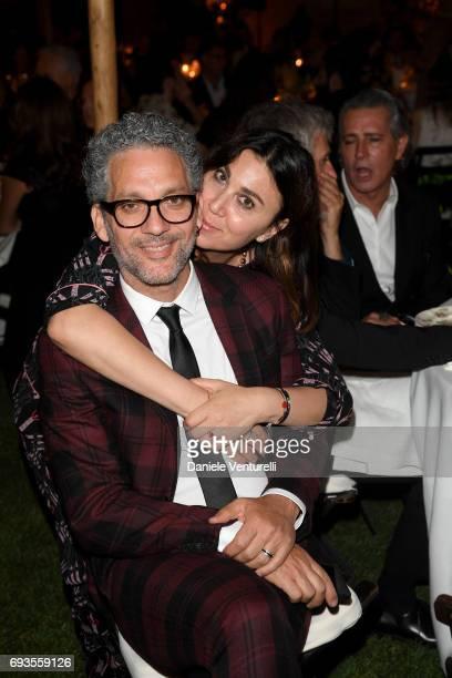 Beppe Fiorello and Eleonora Pratelli attend McKim Medal Gala at Villa Aurelia on June 7 2017 in Rome Italy