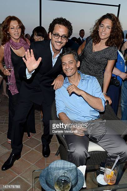 Beppe Fiorello and Rosario Fiorello attend the 2012 Nastri d'Argento Awards cocktail party hosted by Bulgari on June 30 2012 in Taormina Italy