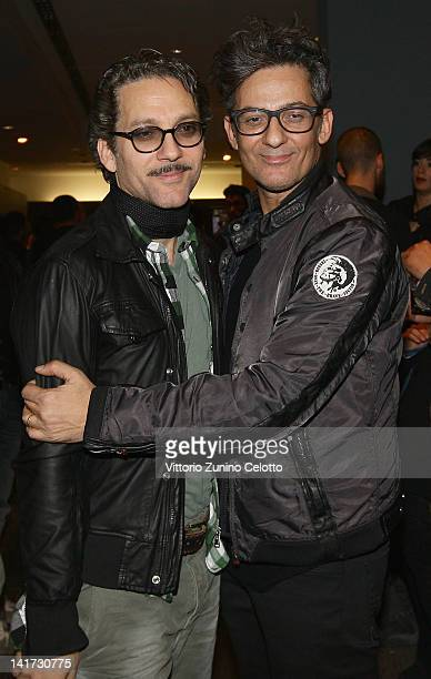Beppe Fiorello and Rosario Fiorello attend the 'Diesel Together With Ducati' cocktail party on March 22 2012 in Rome Italy
