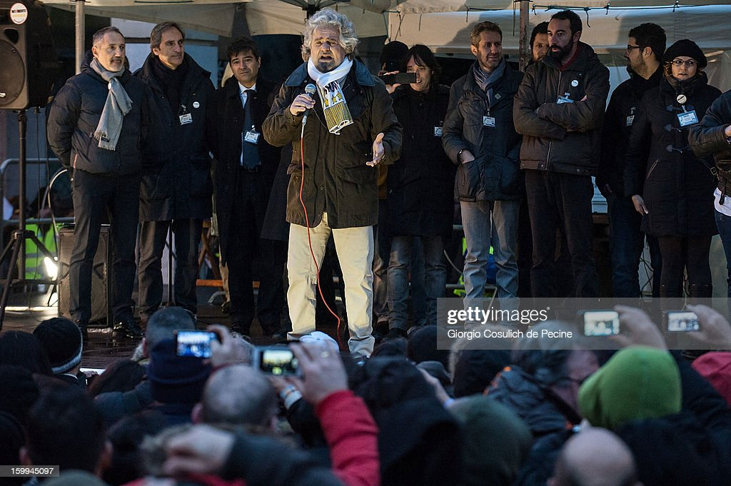 Beppe Grillo, founder of the Movimento 5 Stelle (Five Star Movement), speaks during a public rally for the political campaign on January 23, 2013 in Pomezia, Italy. Grillo is touring all over Italy to promote the Five Star Movement at the next elections.