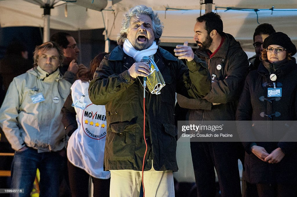 <a gi-track='captionPersonalityLinkClicked' href=/galleries/search?phrase=Beppe+Grillo&family=editorial&specificpeople=4246058 ng-click='$event.stopPropagation()'>Beppe Grillo</a>, founder of the Movimento 5 Stelle (Five Star Movement), speaks during a public rally for the political campaign on January 23, 2013 in Pomezia, Italy. Grillo is touring all over Italy to promote the Five Star Movement at the next elections.