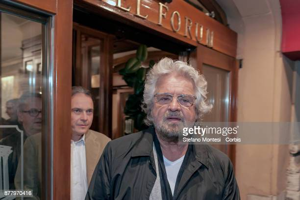 Beppe Grillo is contested in front of the hotel on his way to the theatre from the Movements for the right to housing that contesting the Five star...