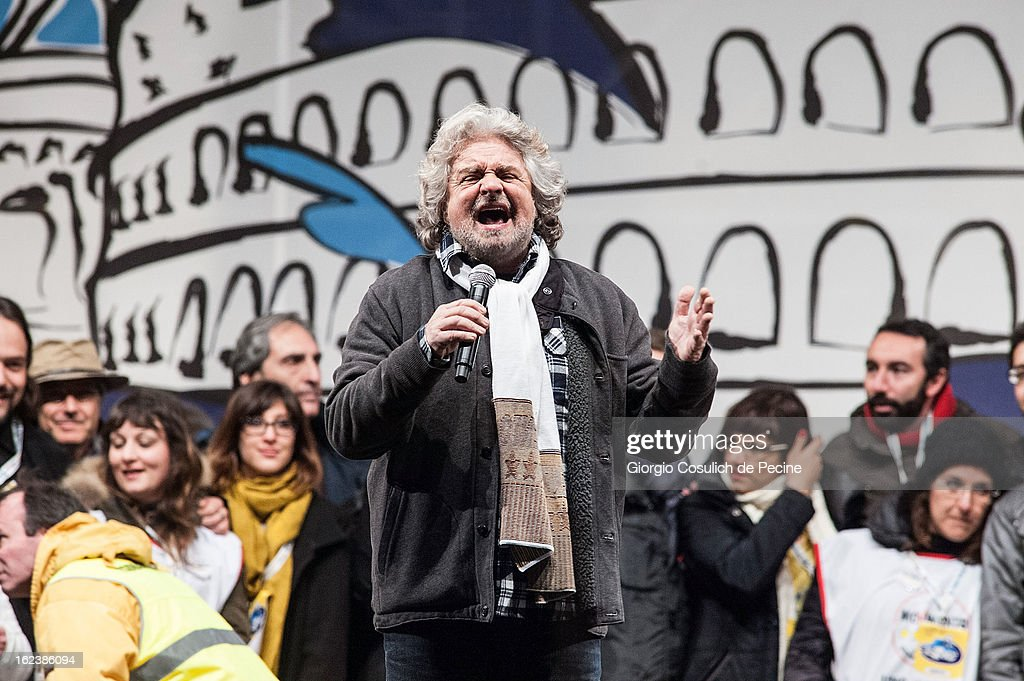 <a gi-track='captionPersonalityLinkClicked' href=/galleries/search?phrase=Beppe+Grillo&family=editorial&specificpeople=4246058 ng-click='$event.stopPropagation()'>Beppe Grillo</a>, leader of the Movimento 5 Stelle, Five Star Movement, speaks at Piazza San Giovanni during his last political rally before the national election on February 22, 2013 in Rome, Italy. Italians go to the polls February 24 and 25 to replace Prime Minister Mario Monti's government.