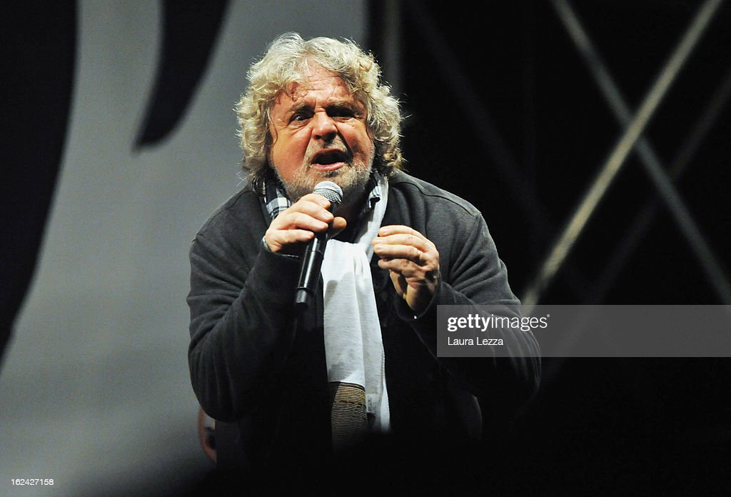 <a gi-track='captionPersonalityLinkClicked' href=/galleries/search?phrase=Beppe+Grillo&family=editorial&specificpeople=4246058 ng-click='$event.stopPropagation()'>Beppe Grillo</a>, leader of the Movimento 5 Stelle, Five Star Movement speaks at Piazza del Popolo during his last political rally before the national election on February 22, 2013 in Rome, Italy. Italians go to the polls February 24 and 25 to replace Prime Minister Mario Monti's government.