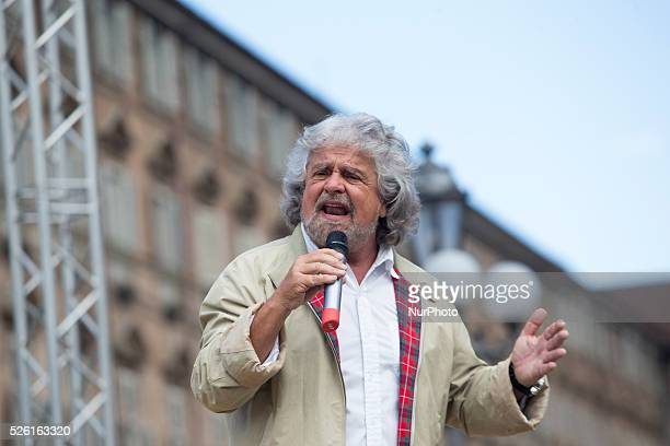 Beppe Grillo speaks in Piazza Castello in Turin to support the Movimento 5 Stelle for the next administrative and european elections