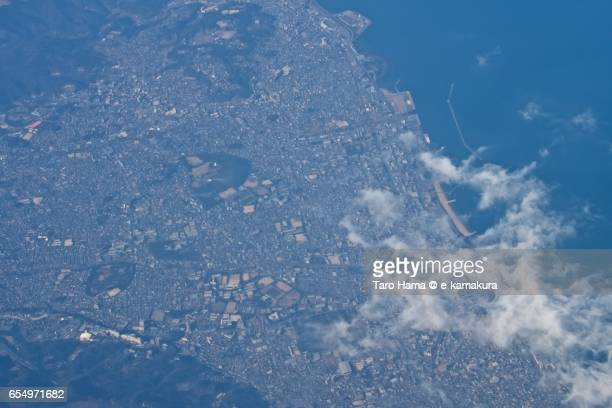 Beppu city, daytime aerial view from airplane