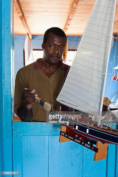 Bequia, St. Vincent, model boat artist