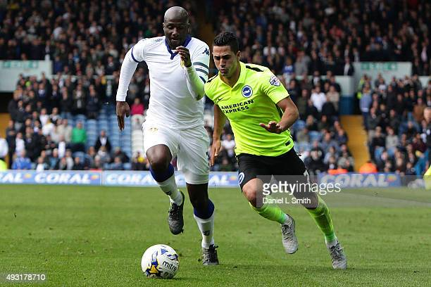 Beram Kayal of Brighton Hove Albion FC manintains controls the ball under pressure over Souleman Bamba of Leeds United FC during the Sky Bet...