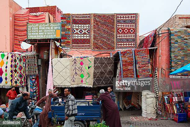 Berber carpets and rugs on display. Marrakech. Morocco.