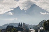 Berchtesgaden with the mountain Watzmann and clouds in the sky