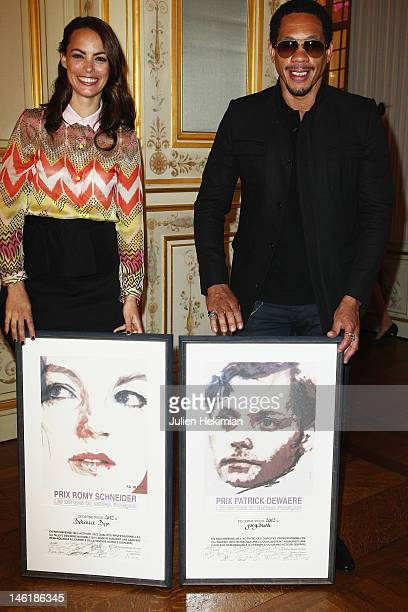 Berencice Bejo and Joey Starr are pictured after being awarded at the Romy Schneider And Patrick Dewaere Awards 2012 at Hotel ShangriLa on June 11...