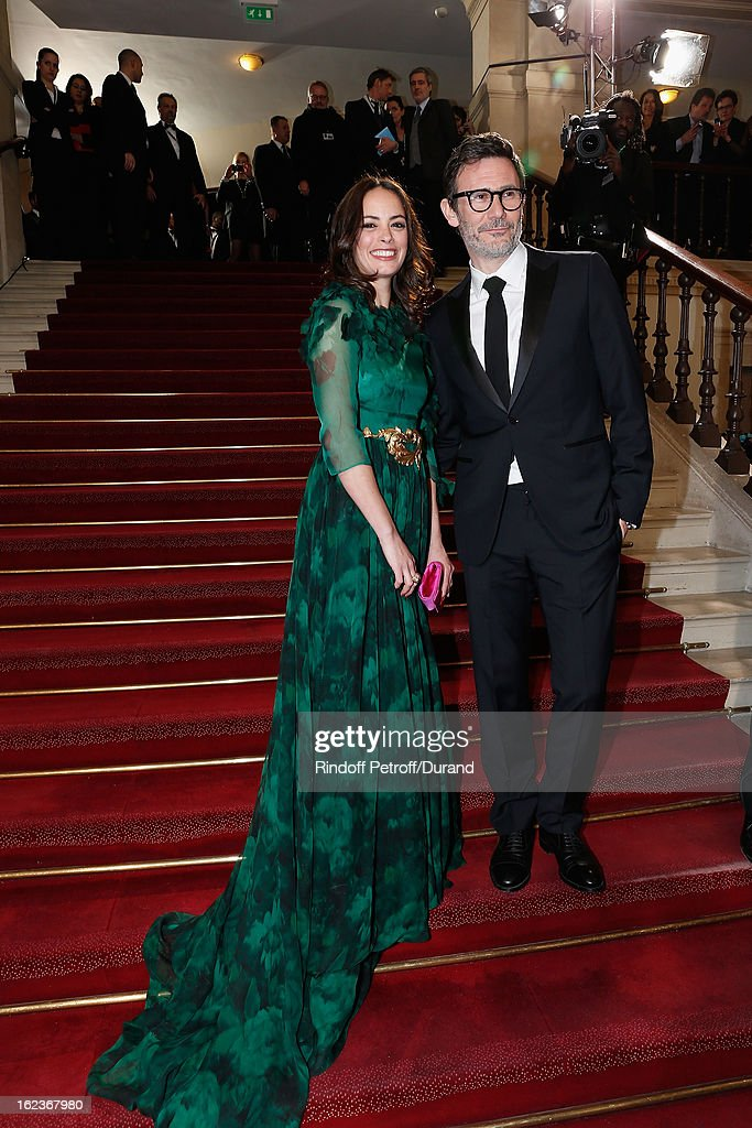 Berenice Bejo (L) and <a gi-track='captionPersonalityLinkClicked' href=/galleries/search?phrase=Michel+Hazanavicius&family=editorial&specificpeople=678372 ng-click='$event.stopPropagation()'>Michel Hazanavicius</a> arrive to attend the Cesar Film Awards 2013 at Theatre du Chatelet on February 22, 2013 in Paris, France.