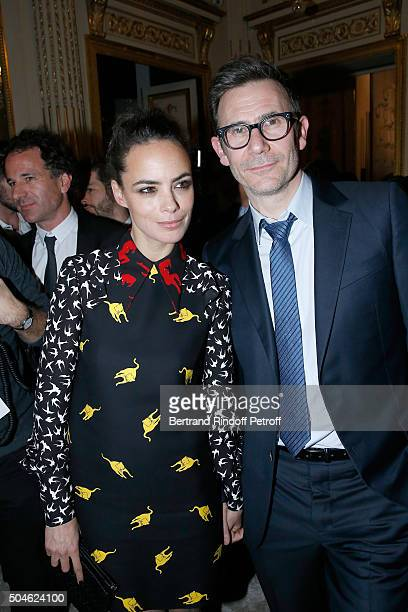 Berenice Bejo dressed in Miu Miu and her husband Director Michel Hazanavicius attend the 'Cesar Revelations 2016' Photocall at Chaumet followed by a...