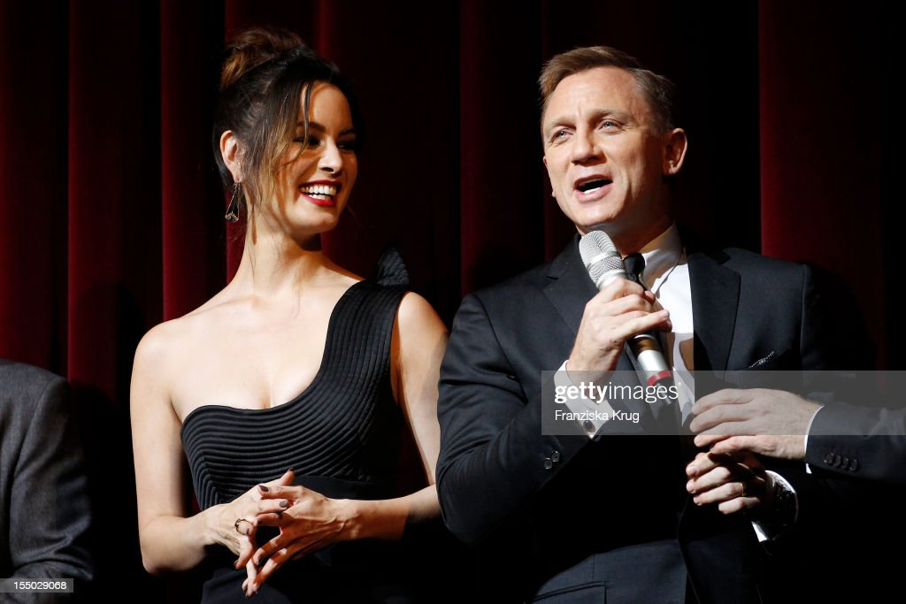 Berenice Marlohe and Daniel Craig attend the 'Skyfall' Germany Premiere at Theater am Potsdamer Platz on October 30 2012 in Berlin Germany