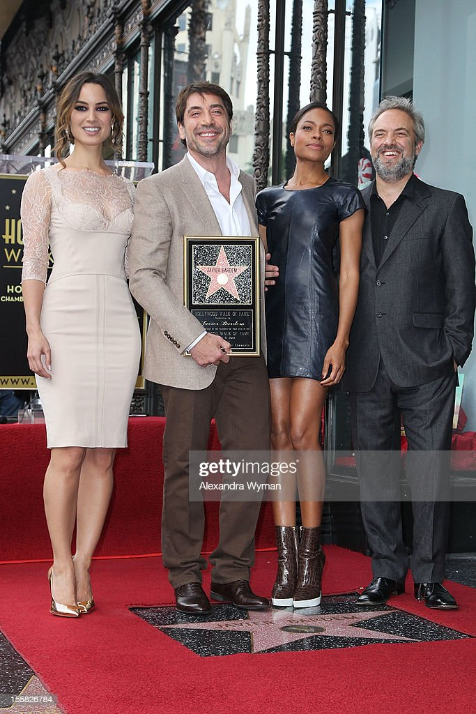 Berenice Marlohe Javier Bardem Naomie Harris and Director Sam Mendes at Javier Bardem's Star Ceremony On The Hollywood Walk Of Fame on November 8...