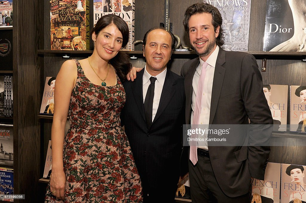 Berenice Vila Baudry, Prosper Assouline and Antonin Baudry attend Martine and Prosper Assouline host book signing for author Berenice Vila Baudry's 'French Style' with the Ambassador of France Francois Delattre at Assouline at The Plaza Hotel on July 9, 2013 in New York City.