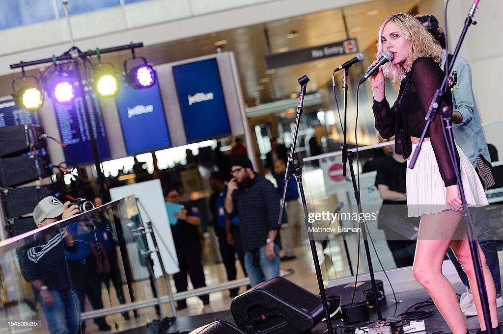 Z Berg of the band JJAMZ performs for the CMJ Music Marathon at JetBlue's 'Live From T5 Concert Series' in John F. Kennedy International Airport on October 17, 2012 in New York City.