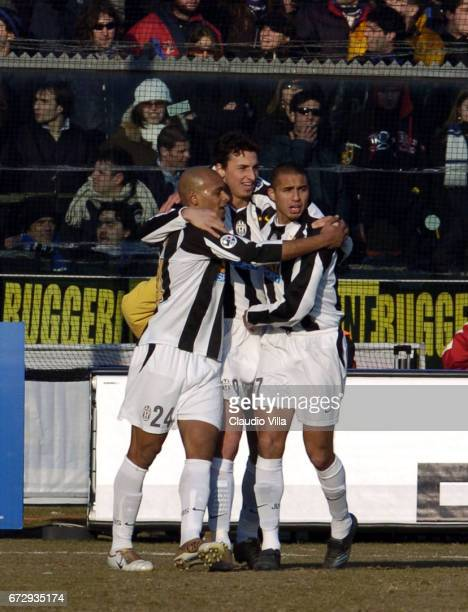 Zlatan Ibrahimovic of Juventus FC celebrates during the Serie A 21th round match between Atalanta of Bergamo vs Juventus of Torino played at the...