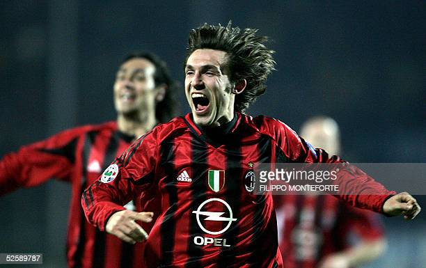 TO GO WITH AFP STORY FILES Andrea Pirlo of Ac Milan jubilates after scoring the winning goal against Atalanta 05 march 2005 at Bergamo's Atleti...