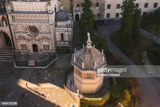 Bergamo, Lombardy, Italy. High angle view over the Santa Maria Maggiore Basilica's square in Upper Town (Città Alta).