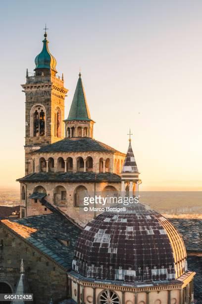 Bergamo, Lombardy, Italy. View of the cityscape and Saint Mary Major Basilica.