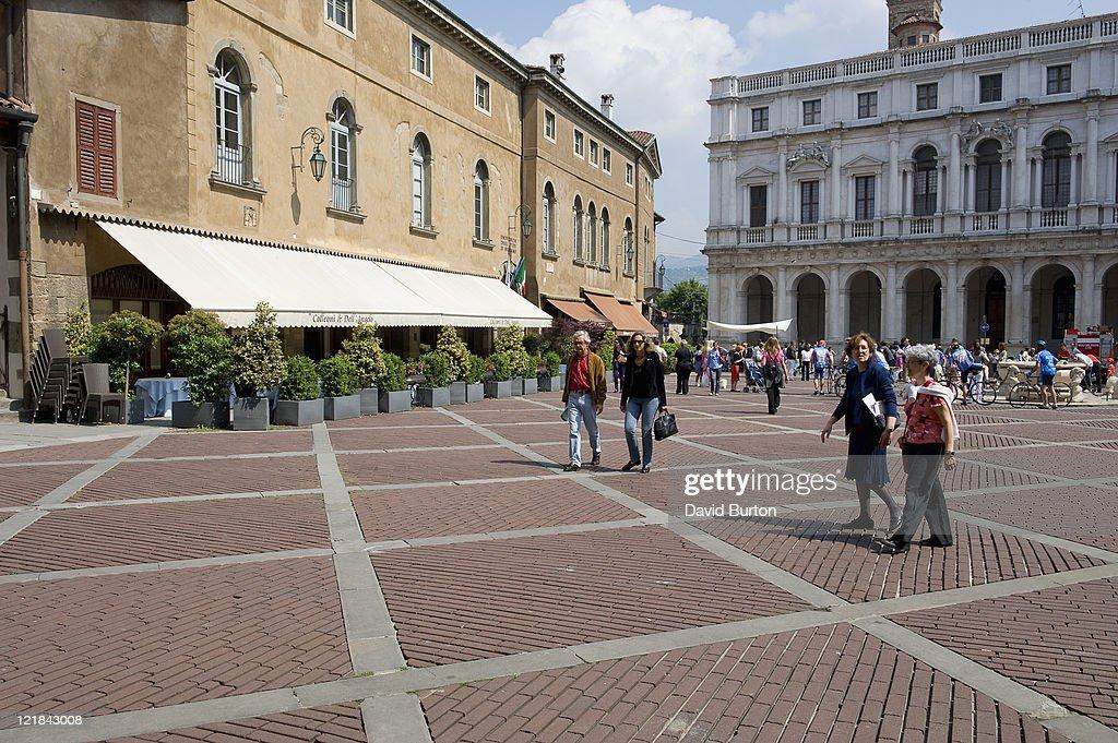 Bergamo square, Italy : Stock Photo
