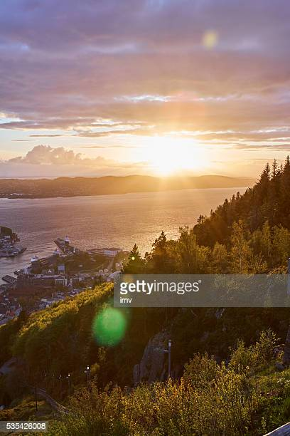 Bergen from Floyen amazing sunset