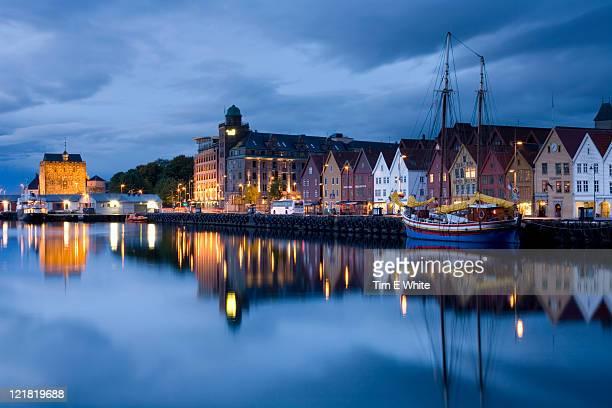 Bergen harbour at dusk, Norway