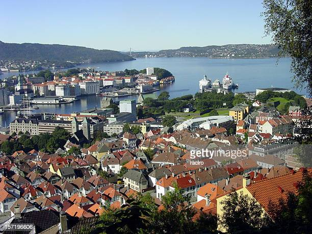 Bergen harbour from above