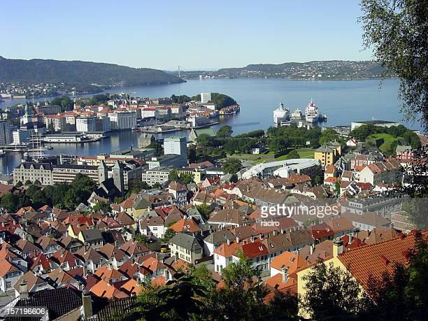 Bergen ハーバーの上からの眺め