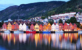 Colorful city of Bergen in Norway at night. Bergen is a perfect launch point for exploring western Norway's stunning fjords and glaciers, including Hardangerfjord and Sognefjord. The colorful Norwegia