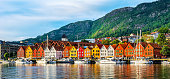 Bergen, Norway. View of historical buildings in Bryggen- Hanseatic wharf in Bergen, Norway. UNESCO World Heritage Site