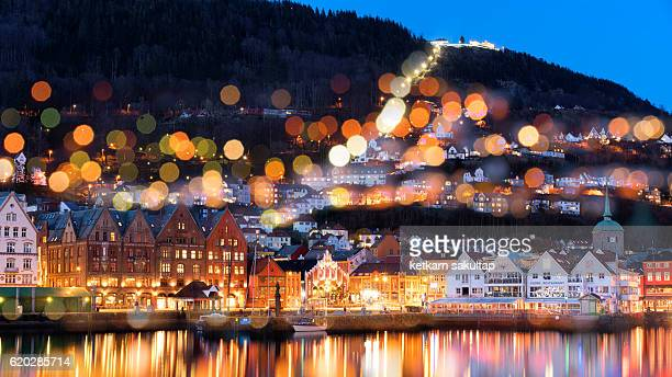 Bergen old town at dawn, Norway.