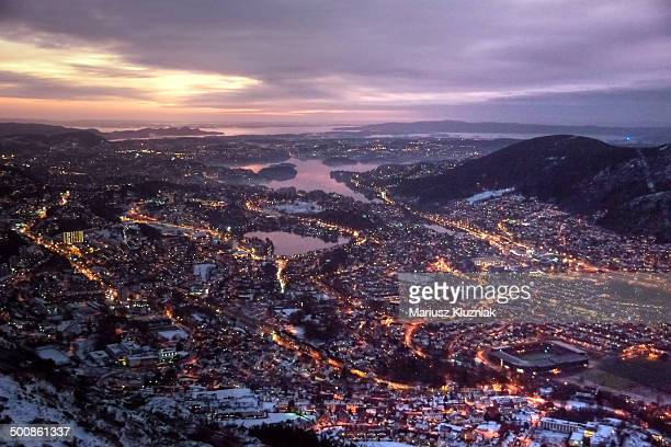 Bergen winter sunset