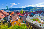 Bergen's colorful houses in sunny spring morning.