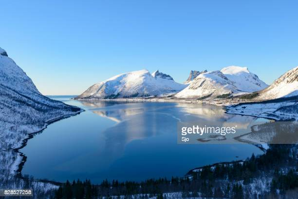 Bergsfjorden winter view on Senja island in Northern Norway