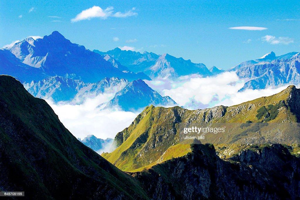 Bergwelt Allgäu Blick vom Nebelhorn