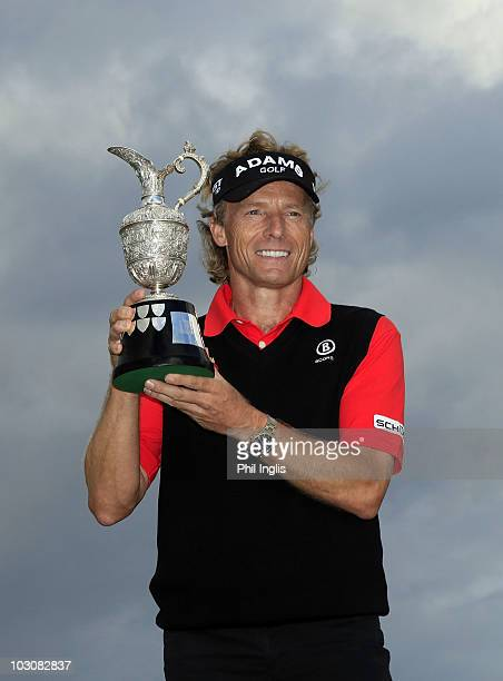 Berhard Langer of Germany poses with the trophy after winning the Senior Open Championship on July 25 2010 at Carnoustie Scotland