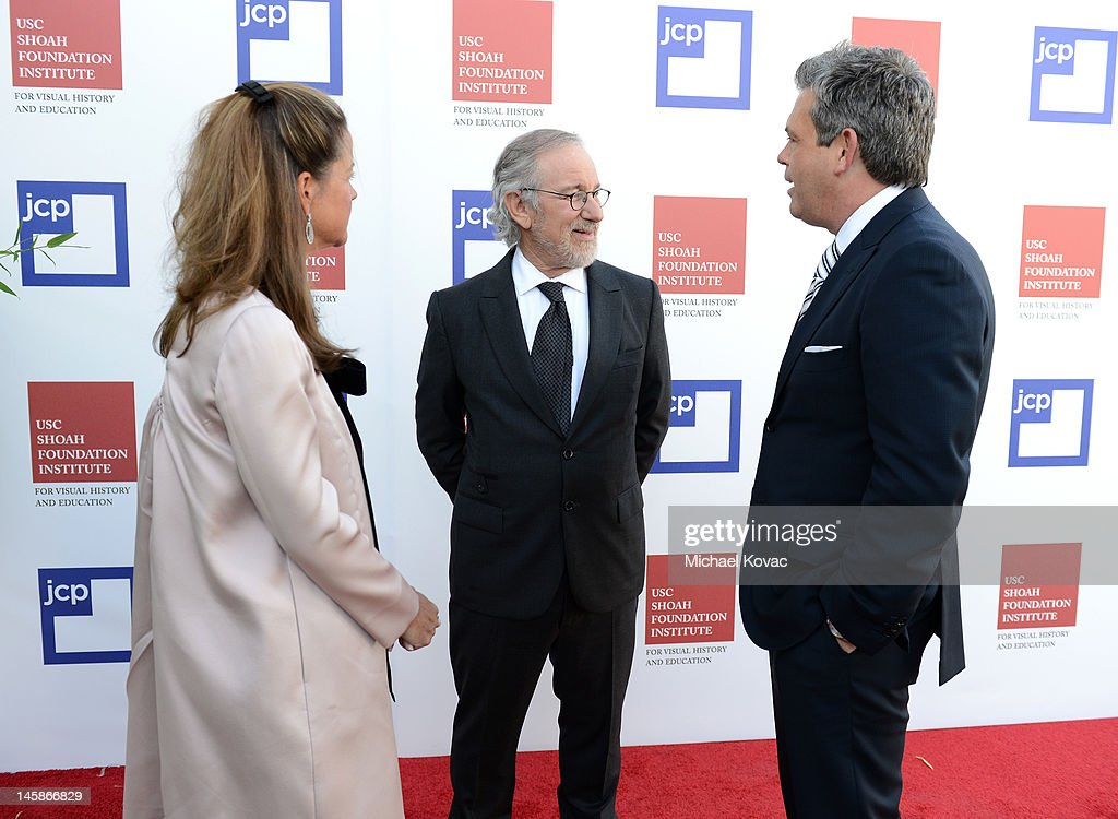 Berit Francis, Shoah Foundation founder <a gi-track='captionPersonalityLinkClicked' href=/galleries/search?phrase=Steven+Spielberg&family=editorial&specificpeople=202022 ng-click='$event.stopPropagation()'>Steven Spielberg</a>, and JC Penney President Michael Francis arrive at the USC Shoah Foundation Institute Ambassadors for Humanity Gala held at the Grand Ballroom at Hollywood & Highland Center on June 6, 2012 in Hollywood, California.