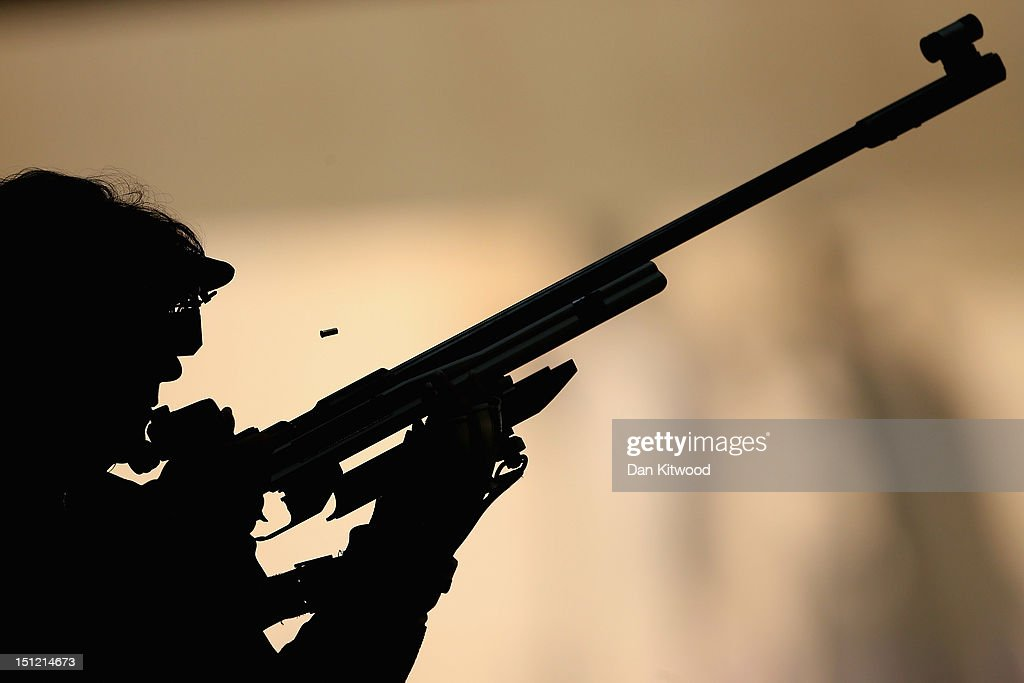 Berit Gejl of Denmark competes in the mixed R6-50m Rifle Prone- SH1 qualification round on day 6 of the London 2012 Paralympic Games at The Royal Artillery Barracks on September 4, 2012 in London, England.