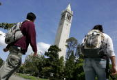 Berkeley students walk by Sather Tower on the UC Berkeley campus April 17 2007 in Berkeley California Robert Dynes President of the University of...
