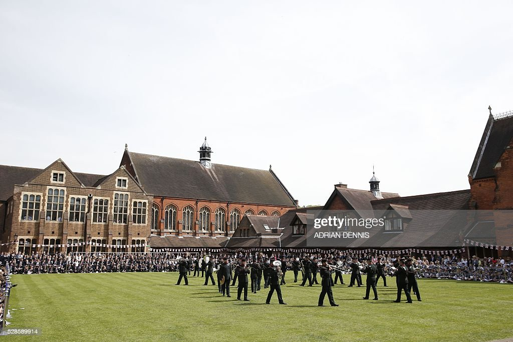 Berkhamsted School, in Berkhamstead, north-west of London, prepares on May 6, 2016, for the visits of Britain's Queen Elizabeth II, on the 475th Anniversary of its foundation. The Queen, in her role as Patron of the school, will inspect a Guard of Honour formed from the school's Combined Cadet Force, and view displays celebrating various aspects of school life. Berkhamsted School was founded in 1541 by John Incent, Dean of St Paul's, initially as a school of just 144 pupils. Berkhamsted Schools Group is currently responsible for the education of over 1,800 pupils. / AFP / ADRIAN