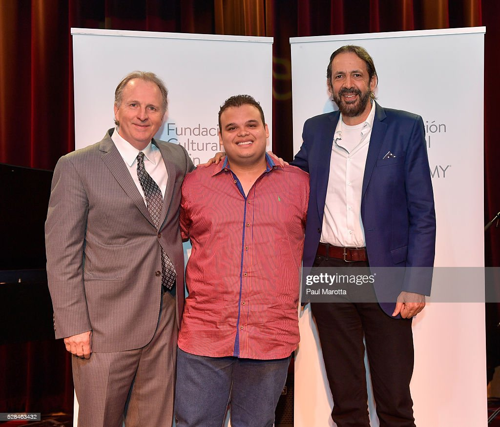Berklee President Roger Brown, Jesus Molina Acosta, winner of the 2016 Juan Luis Guerra Scholarship, presented by the Latin GRAMMY Cultural Foundation, and singer, song writer, composer and producer Juan Luis Guerra at Berklee College of Music on May 5, 2016 in Boston, Massachusetts.