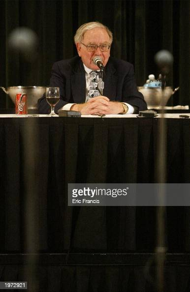 Berkshire Hathaway's CEO Warren Buffett answers questions at a news conference May 4 2003 in Omaha Nebraska Buffett attended the Berkshire Hathaway...