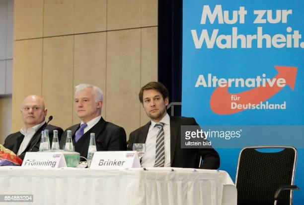 Berlin 4 Landesparteitag der Berliner AfD Foto STELLVERTRETENDER SPRECHER Harald Laatsch STELLVERTRETENDER SPRECHER Hugh Bronson Dr Götz Frömming...