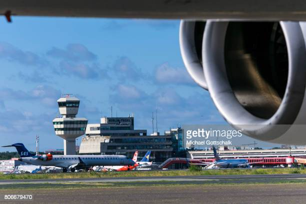 Berlin Airport BerlinTegel seen with aircrafts of german carrier Air Berlin on July 03 2017 in Berlin Germany